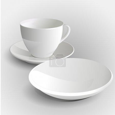 Illustration pour Tasse à café et soucoupe - Illustration vectorielle - image libre de droit