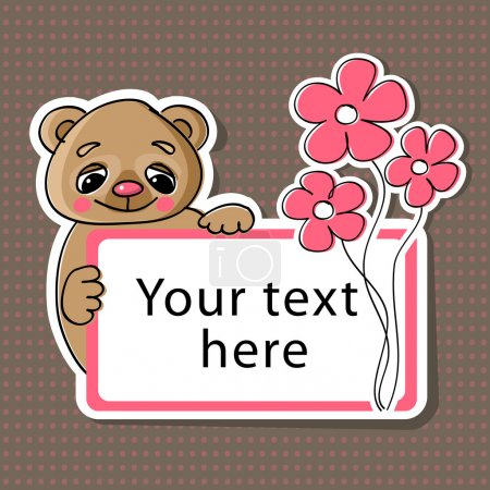 Illustration pour Carte de vœux vectorielle avec ours et fleurs . - image libre de droit