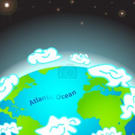 Photo pour Illustration de l'océan Atlantique sur Terre - image libre de droit
