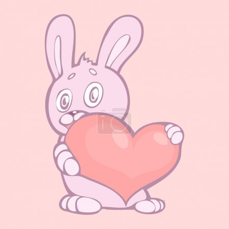 Lovely rabbit holds pink heart. Vector illustration.