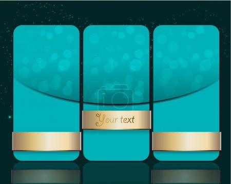 Vector set of blue banners with gold ribbons.