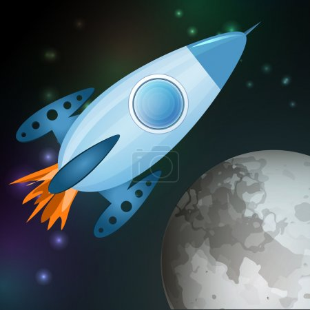 Vector illustration of spaceship flying into galaxy.
