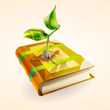 Vector illustration of plant growing in book.