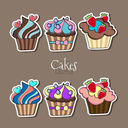 Vector set of delicious cupcakes.