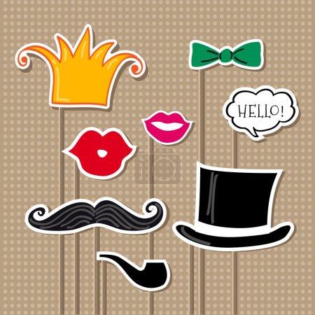 Photo pour Ensemble vectoriel d'accessoires de carnaval. Illustration vectorielle . - image libre de droit
