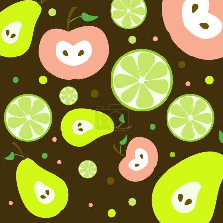 Fruits Seamless Pattern - Vector Illutration