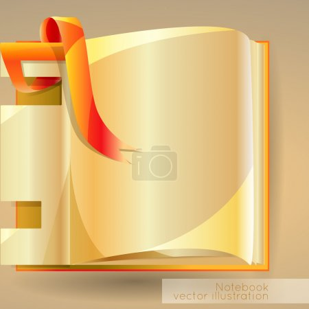 Vector background with open notebook.