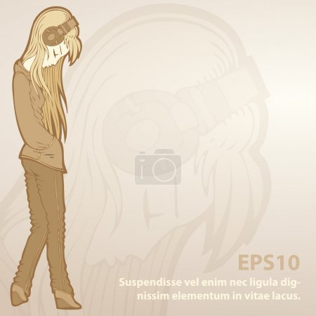 Illustration for Vector background with girl in headphones. - Royalty Free Image