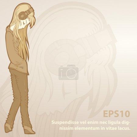 Illustration pour Fond vectoriel avec fille dans les écouteurs . - image libre de droit