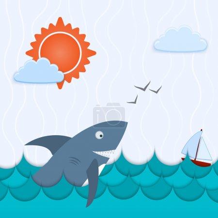 Illustration pour Paysage marin avec île et illustration vectorielle du navire - image libre de droit