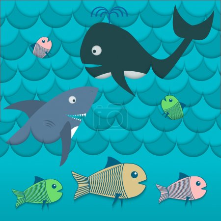 Illustration of different fishes in the sea vector