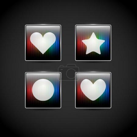Vector web elements - heart, circle, star