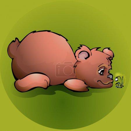 Illustration pour Ours en peluche brun avec fleur - illustration vectorielle - image libre de droit