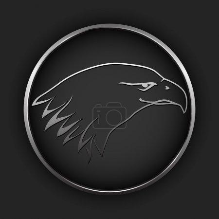 Illustration pour Bouton vectoriel avec aigle . - image libre de droit
