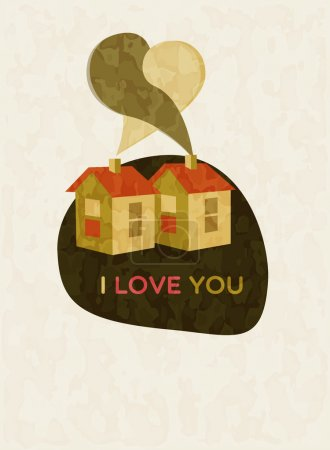 Illustration pour Illustration de la maison le jour de la Saint Valentin - image libre de droit