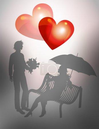 Illustration pour Illustration jeune couple sur un banc. Saint Valentin - image libre de droit