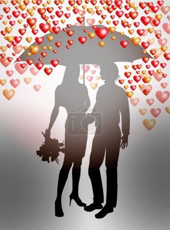 Couple under umbrella on Valentines Day