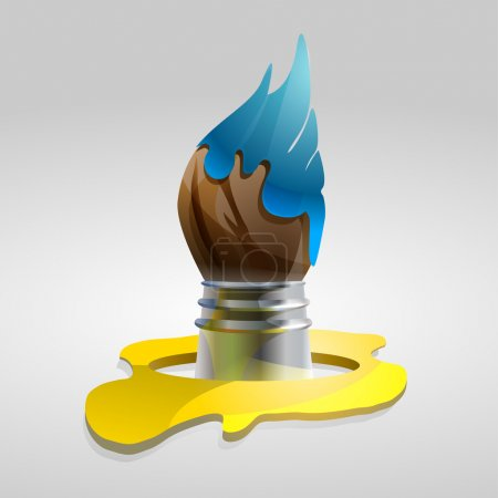Brush in the blue paint. Vector illustration.