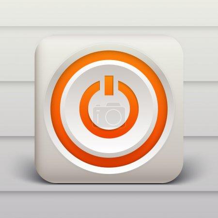 Vector orange power button.