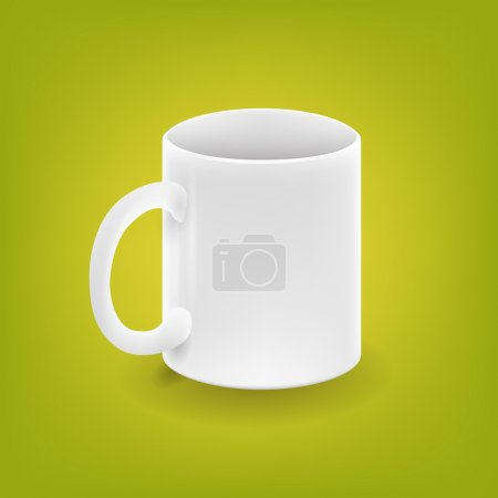 Realistic white cup on green background - vector illustration
