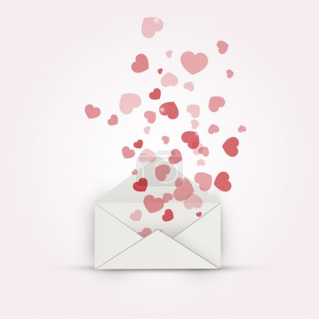 Illustration for Vector illustration of envelope with hearts. Vector illustration. - Royalty Free Image