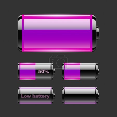 Vector set of battery charge.