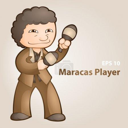 Vector illustration of a maracas player.