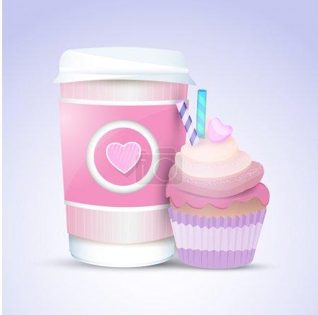 Vektor-Cupcake und Kaffee zum Valentinstag