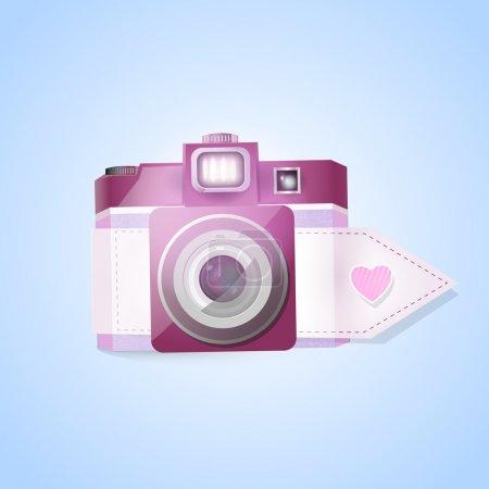 Cámara fotográfica vectorial para el día de San Valentín