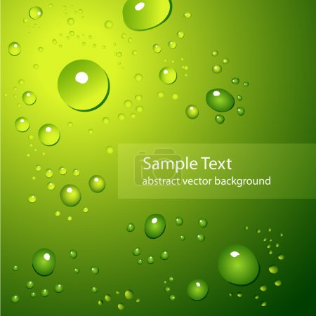 Illustration for Abstract background with water drops on green - vector illustration - Royalty Free Image