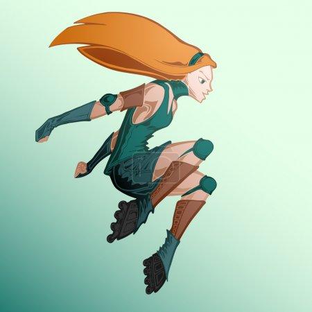 Illustration vectorielle de la fille rouleau .