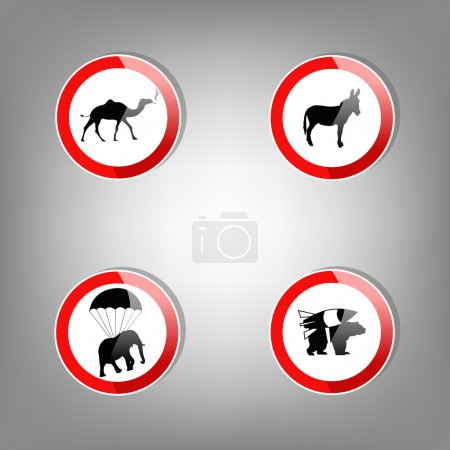 Illustration for Animal warning signs - vector illustration - Royalty Free Image