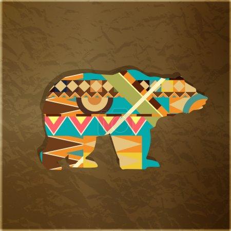 Illustration pour Ornement décoratif ours. Silhouette d'animal avec motif coloré - image libre de droit