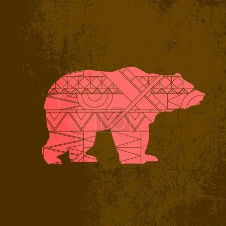 Illustration pour Ornement décoratif ours. Silhouette d'animal avec motif rouge - image libre de droit