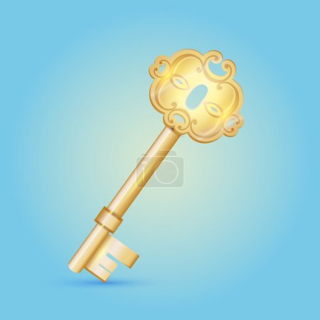 Vintage vector golden key on the blue background