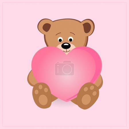 Illustration pour Mignon ours en peluche tenant coeur rose illustration vectorielle - image libre de droit