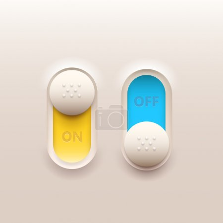 Illustration for On and off switch buttons. Vector set. - Royalty Free Image