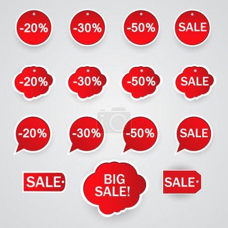 Illustration pour Jeu vectoriel d'autocollants à vendre . - image libre de droit