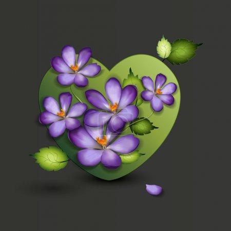 Illustration pour Fleurs d'un lilas en forme de cœur. Saint-Valentin. Illustration vectorielle - image libre de droit