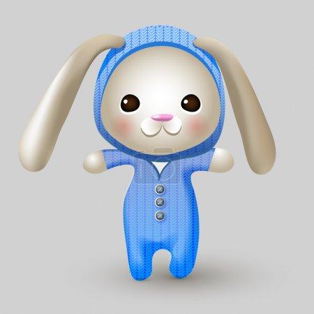 Illustration pour Jolie poupée lapin. Illustration vectorielle . - image libre de droit