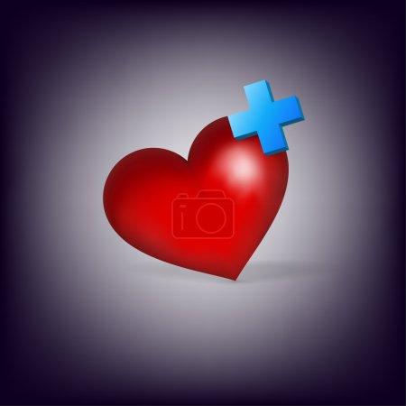 Illustration pour Coeur avec croix. Icône médicale  . - image libre de droit