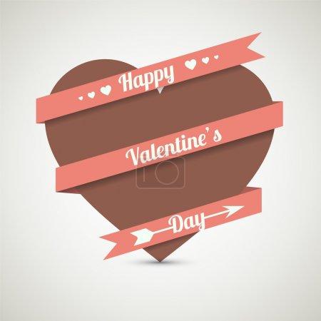 Illustration pour Coeur avec ruban. Carte de vœux vectoriel pour la Saint Valentin . - image libre de droit