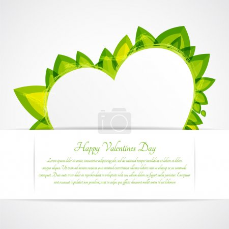 Heart with leaves. Vector greeting card for Valentine's day.