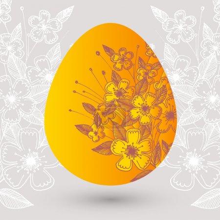 Photo pour Illustration vectorielle d'un oeuf de Pâques floral . - image libre de droit