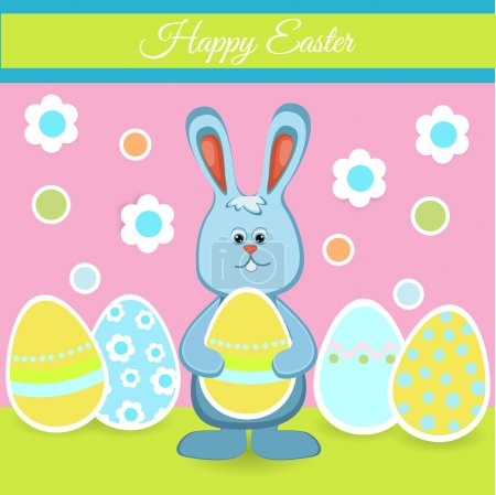 Illustration for Happy easter card with bunny and eggs - Royalty Free Image