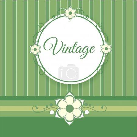 Vintage fond vert avec des fleurs