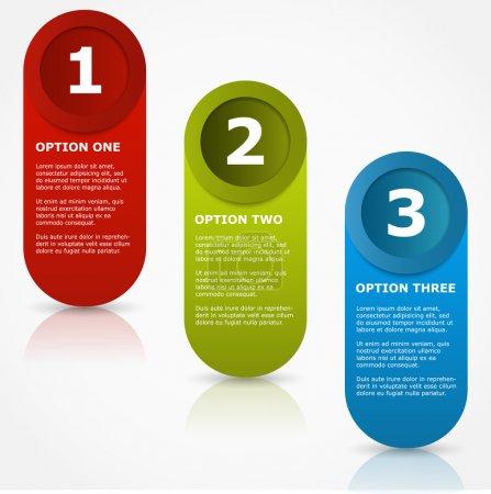 Illustration pour Une deux trois bannières d'options . - image libre de droit