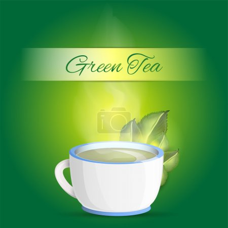 Cup of green tea background - vector illustration