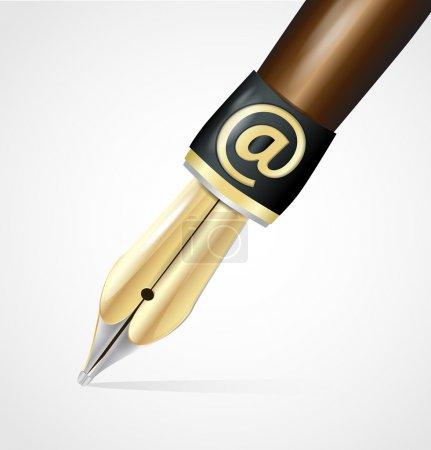 Illustration pour Vecteur vieille plume de stylo encre avec signe AT - image libre de droit