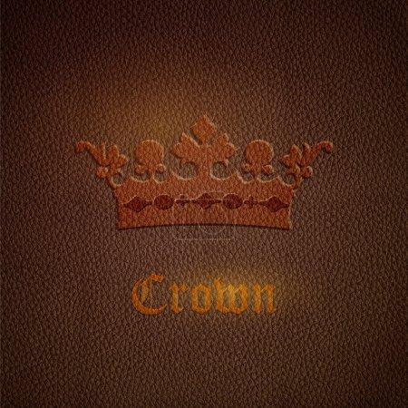 Vector leather background with crown